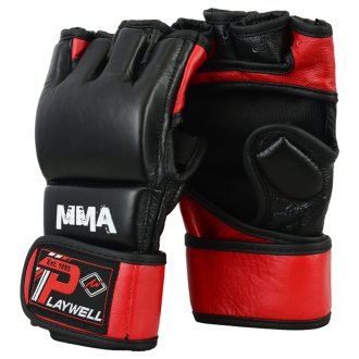 MMA Leather Elite Black/Red Grapling...