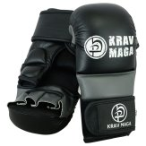 Krav Maga Elite Hybrid MMA Sparring Gloves - 7oz (Black/Grey )