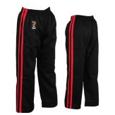 Full Contact Trousers - Black W/ 2 Red Stripes Cotton