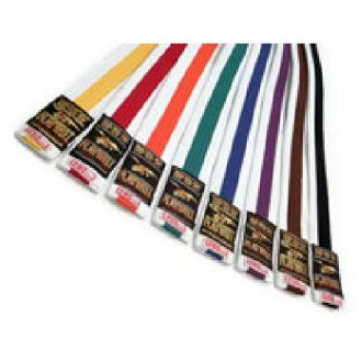 Grade Belt: White with Coloured Stripe