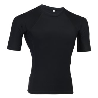 MMA Plain Black Short Sleeve Rash Guard