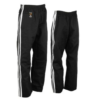 Full Contact Trouser - Black W/ 2 White Stripes Satin