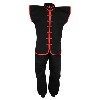 Kung Fu Sleeveless Suit: Black / Red