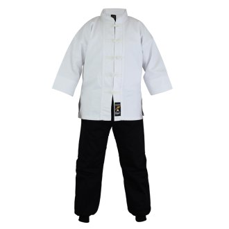 Kung Fu Uniform: Mix: White / Black Trousers - Childrens