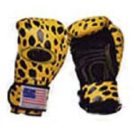 Boxing Gloves: Printed: Leopard Design Leather