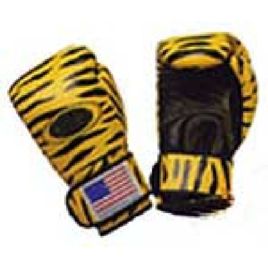 Boxing Gloves: Printed: Tiger Design Leather