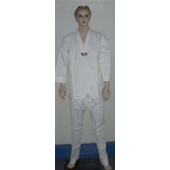 Korean Ultimate Taekwondo Uniform: Plain Back: White V-Neck