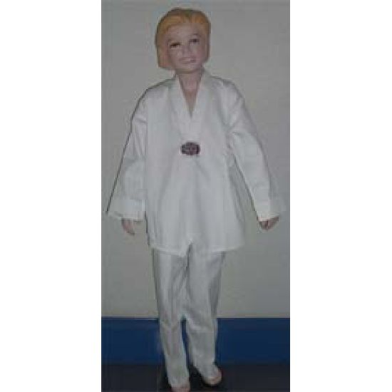 Korean Ultimate Taekwondo Uniform: Plain Back:White V-Neck:Child