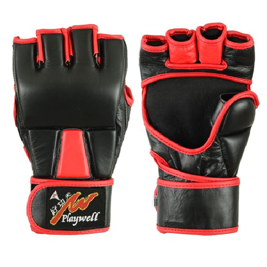 MMA Leather Black/Red Grappling Fight Gloves - 4oz