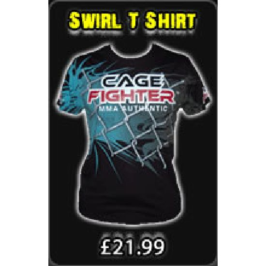 Cage Fighter Cage Swirl T Shirt - Black/Blue