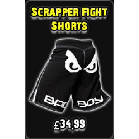 "Bad Boy Black "" Scrapper Fight Shorts"