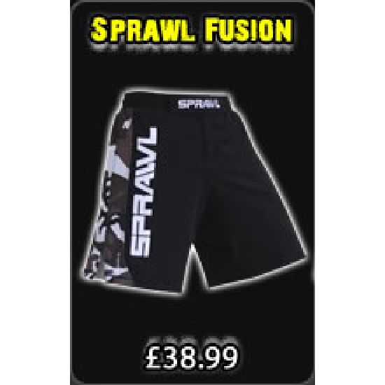 Sprawl Fusion Series Fight Shorts - Black/ Camo/ White