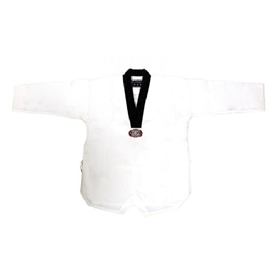 Korean Ultimate Taekwondo Uniform: Plain Back: Black V-neck