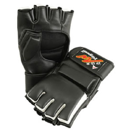 MMA Competition Black/White Vinyl Fight Gloves - NEW !