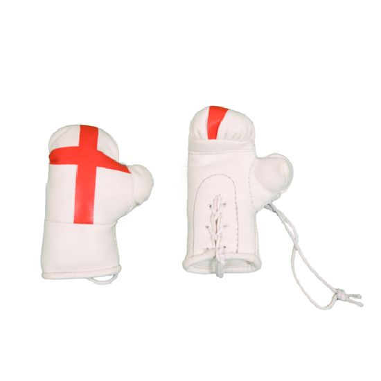 Mini Car Hanging Boxing Gloves - St George Flag