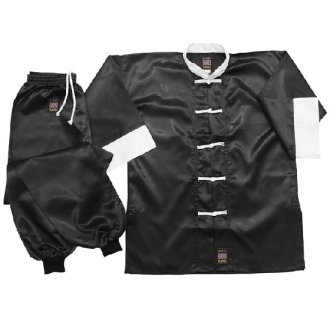 Kung Fu Uniform: Satin Black / White