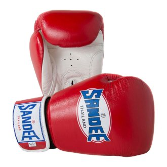 Sandee Authentic Leather Boxing Gloves - Red