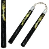 NR-060: Nunchaku Black Wood Gold/Dragon
