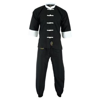 Adults Kung Fu Elite Microfibre Suit - Black/White