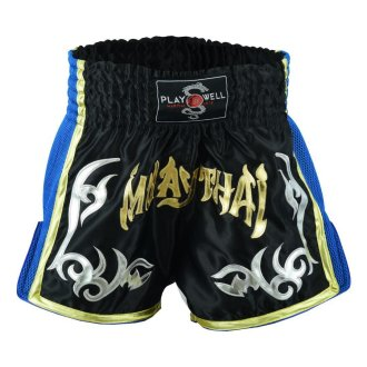Muay Thai Competition Mesh Tribal Fight shorts - Black/Blue