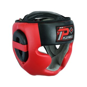 Boxing Full Face Head Guard - Black/Red