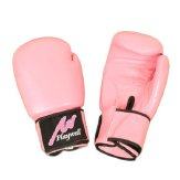 Boxing Glove Proffessional Leather : Pink - With Free Wraps