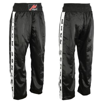 Full Contact Trousers - Black/ White Kickboxing Patches