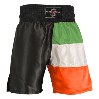Boxing Competition Black Satin Shorts - Ireland Flag Series