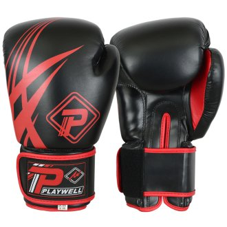 Playwell Black/Red Tribal Boxing Gloves