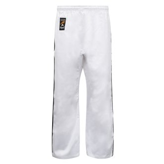 Full Contact Trousers - White W/ 2 Black Stripes Cotton