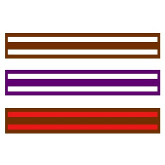 Grading Belts With 2 Couloured Stripes