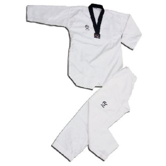 WTF Approved Taekwondo Black V Fighters Suit