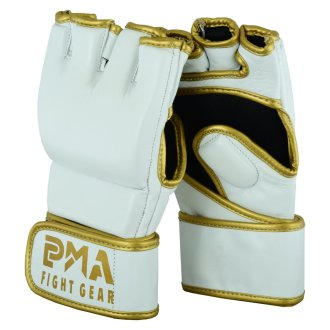 MMA Leather Elite White/Gold Grappling...