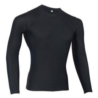MMA Plain Black Long Sleeve Rash Guard