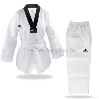 WTF Approved Pine Tree Black V-Neck Tkd Suit