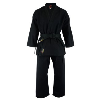 Karate Uniform: Heavyweight Gold Brand Black - 16oz