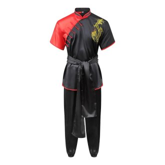 Competition Wushu Silk Uniform - Black/Red