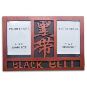 Wooden Black Double Photo Frame Display...