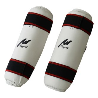 Elite White Vinyl Shin Guards