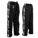 Full Contact Trousers - Black W/ 2 Camo Stripes Cotton