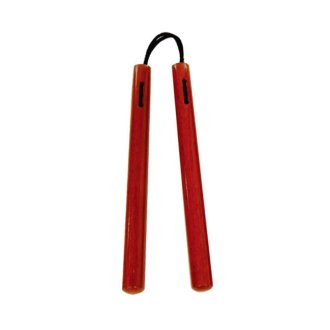 Nunchaku Round Red Oak With Cord - C109