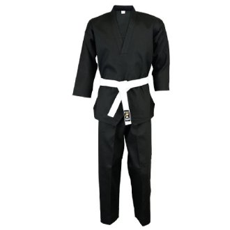 Karate Black V-Neck Pull Over Uniform : Children - 9oz