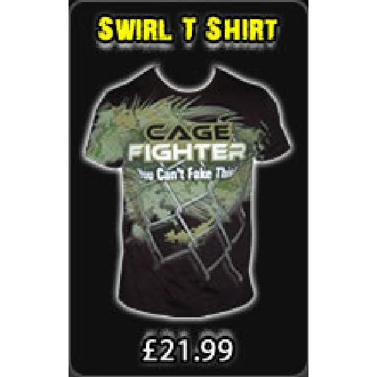 Cage Fighter Cage Swirl T Shirt - Black/Camo