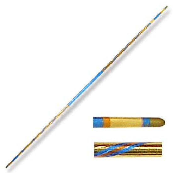Chrome Competition Gold/Blue Lotus Wood Bo Staff - 72 Inches - Click Image to Close